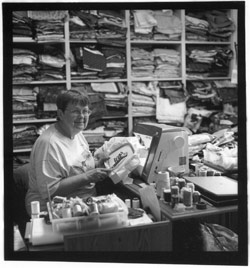 Peggy Bodle at work in her studio