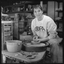 Sandy Brown at work in her studio