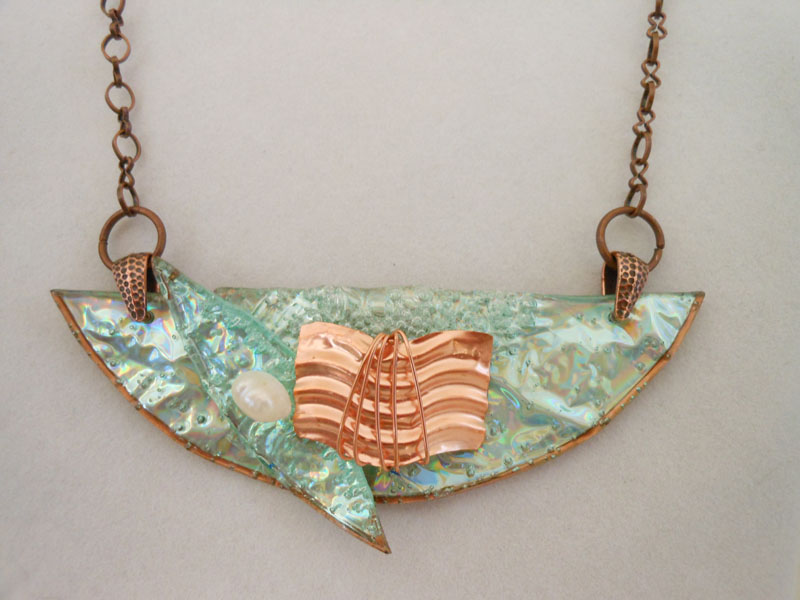 textured copper, copper wire, pearl and DVD Jewelry