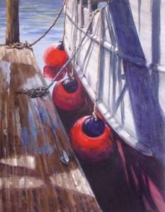 Shadows on the Dock by artist Mitzi Christensen