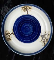 dish with blue trees