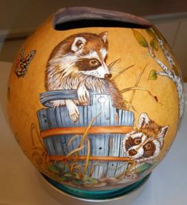 painted gourd, raccoon