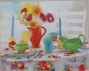 painting of tea on a table