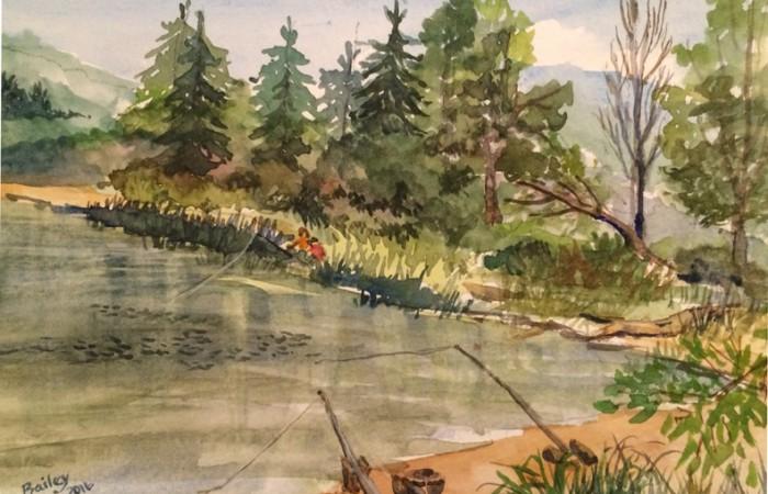 fishing at Kress Lake, Kalama