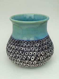 patterned blue vase