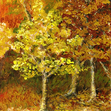 painting of fall tree colors