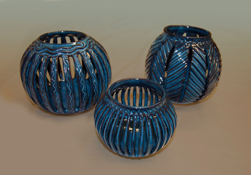 blue incised pottery