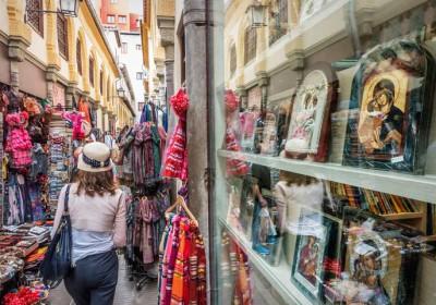 Lady shopper in window