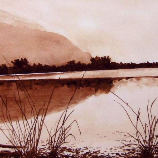 Sepia colored drawing of water