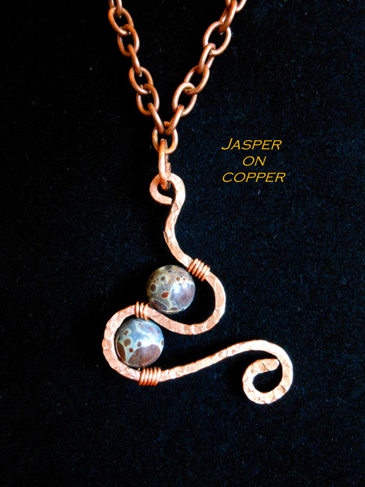 jewelry with jasper stone and hammered copper