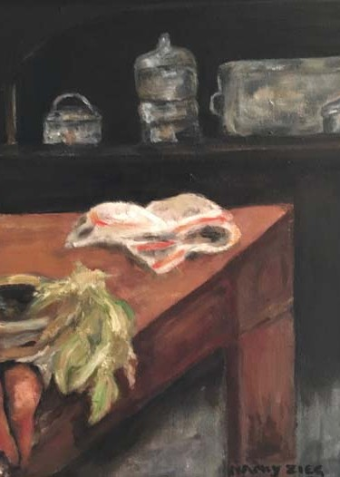 painting of a table in the kitchen