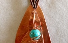trianglar shape necklace in copper with turquoise howlite bead