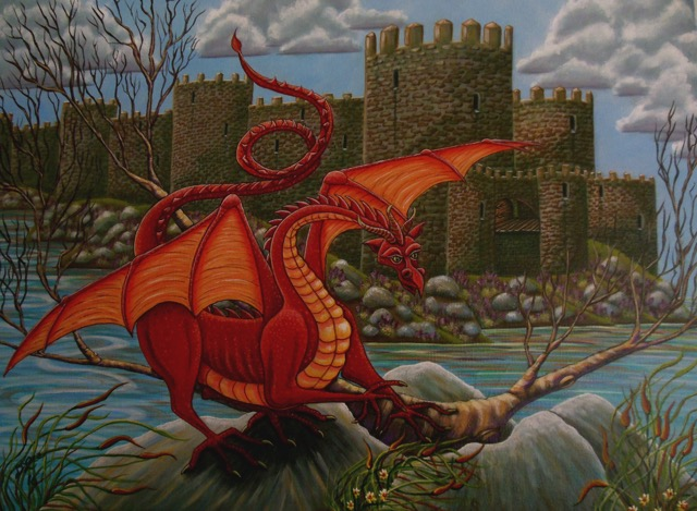 bright colored dragon in front of a castle