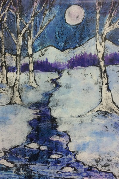 batik painting of winter scene