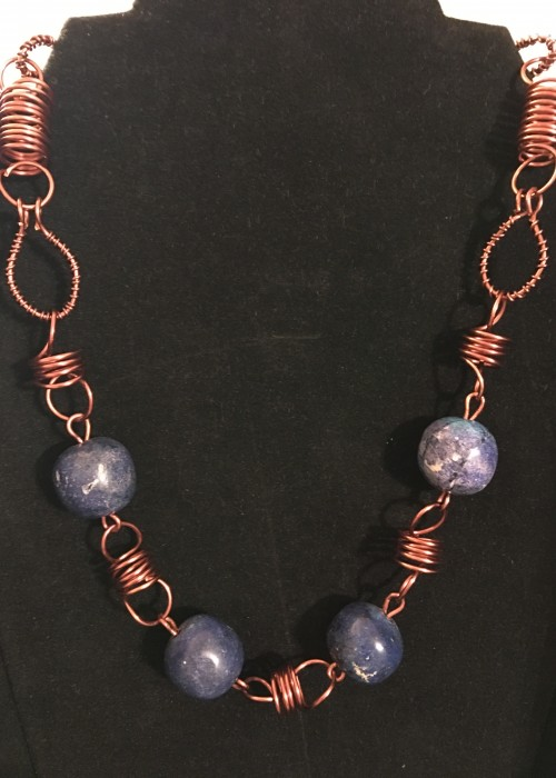 dainty copper wire and smal round bead necklace