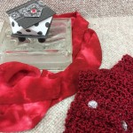 paper art box, silk scarf, knitted scarf