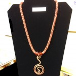 copper and braided fabric necklace