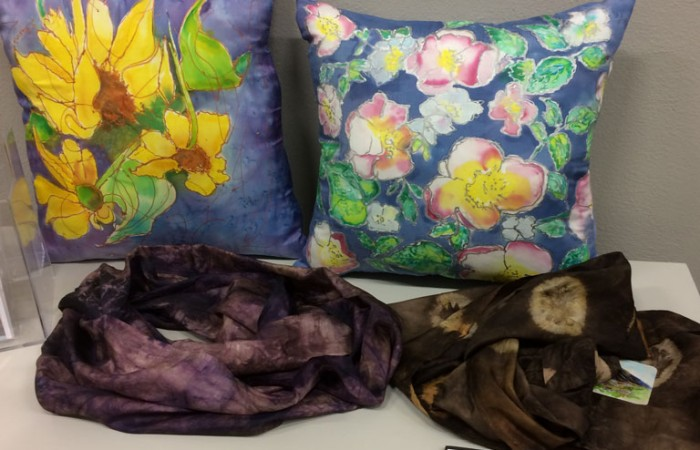 silk pillows and scarves