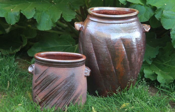 small and large crock