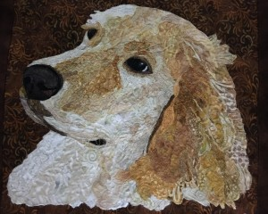 dog image on a quilt