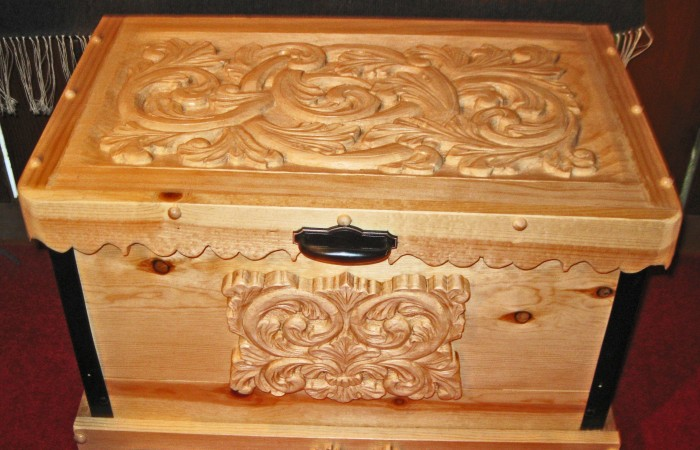 natural looking carved chest