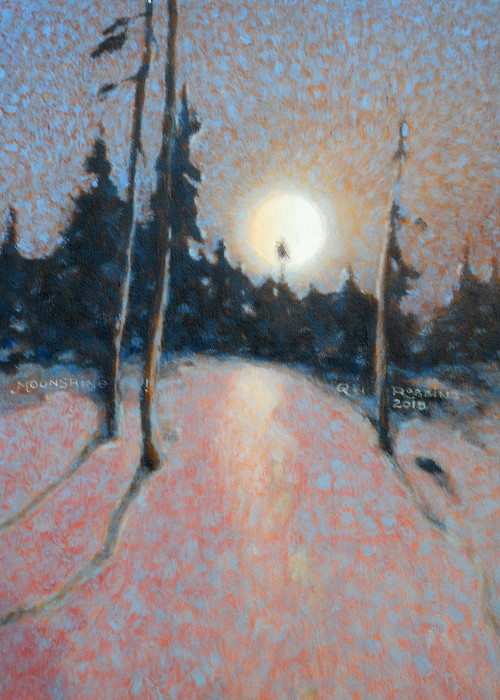 Moonlight casting on snow and forest