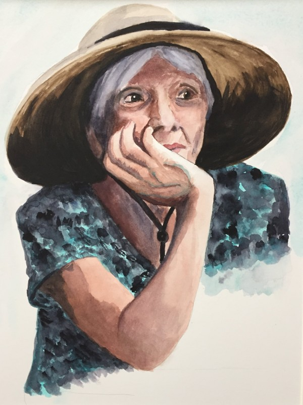 study of a lady's expression wearing a hat