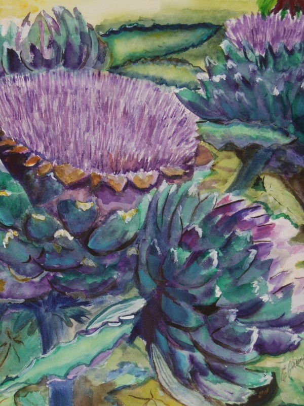colorful purple and green artichokes