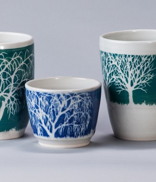 3 size of mugs with full tree design