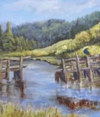 water scene with wood docks