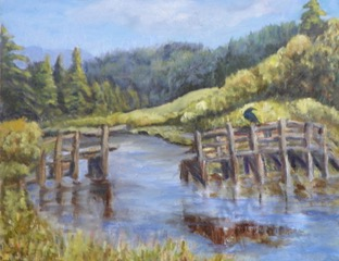 water scene with wood docks