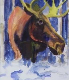 moose in winter scene