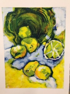 Blue and yellow colors for basket and lemons