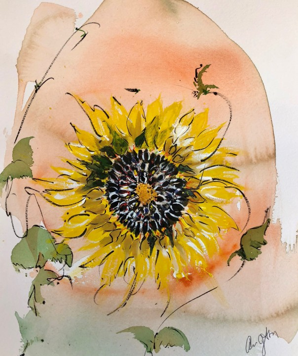 watercolor of sunflower
