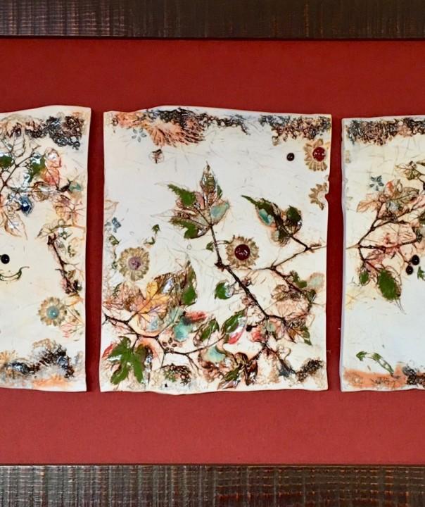 tiles of porcelain with a vine design