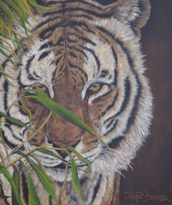 close-up drawing of a tiger