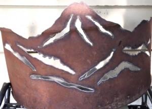 rusty metal with Mt Hood