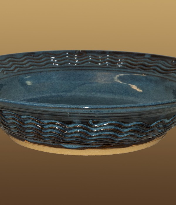 blue glazed textured bowl