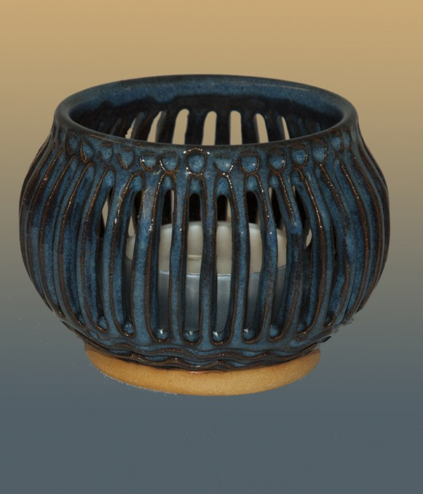 blue glazed candle holder