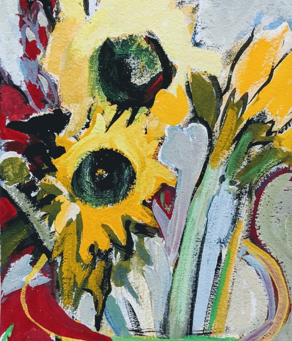 bright sunflowers in vase