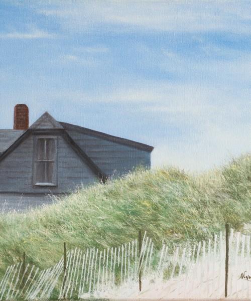 Painting of a beach house on the ocean