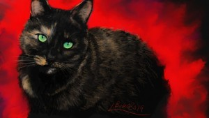 black cat with green eyes perched
