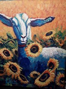 goat among flowers