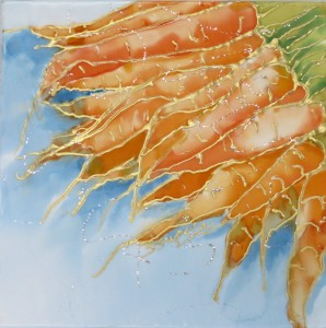 bunch of carrots with cool colored background