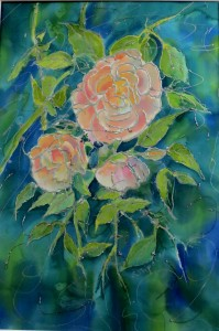 3 roses on cool colored background
