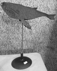 humpback whale mounted on pedestal