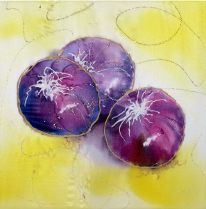 three Red Onions with yellow background