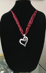 heart shaped and fabric necklace