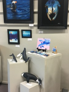 3-D art and 2-D art of whales