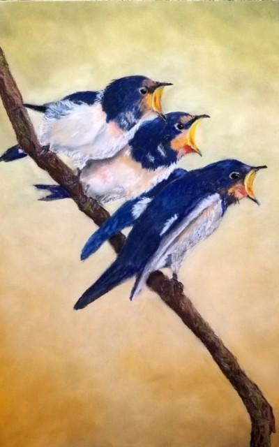 pastel of three birds with beaks open